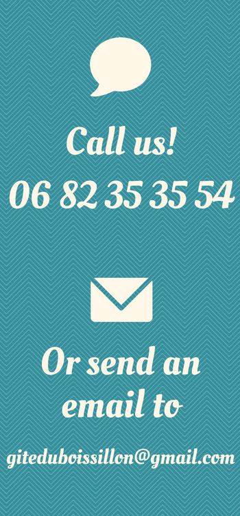 Call us or send an email, Gite du Boissillon